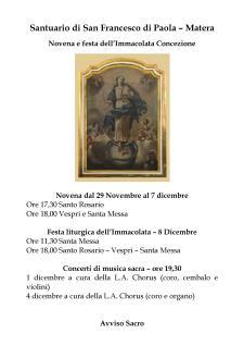 Festa liturgica dell'Immacolata - Matera