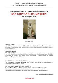 Festeggiamenti del Beato Transito di SAN GIOVANNI DA MATERA  - Matera