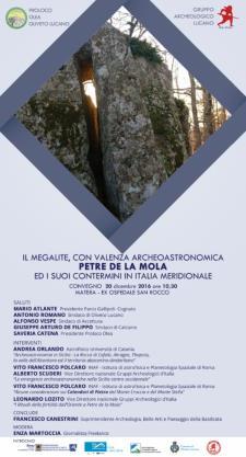 Il megalite, con valenza archeoastronomica, di Petre de La Mola ed i suoi contermini in Italia Meridionale  - Matera