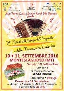 IV Festival dell'Abbazia dell'Organetto e della Fisarmonica Diatonica - 10 e 11 settembre 2016 - Matera