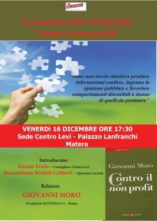 """L'economia della Solidarietà """"Contro il non profit"""" - Matera"""