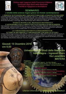 L'EREDITA' DELLA SCIENZA MAGNO-GRECA NEL MONDO CONTEMPORANEO - Matera