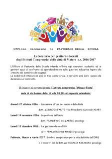 Laboratorio per genitori e docenti degli Istituti Comprensivi della città di Matera a.s. 2016-2017 - Matera