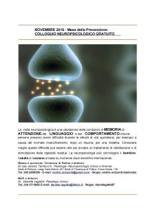 NOVEMBRE 2016 - MESE DELLA PREVENZIONE NEUROPSICOLOGICA - Matera