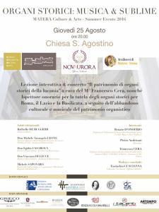 ORGANI STORICI: MUSICA & SUBLIME - 25 agosto 2016 - Matera