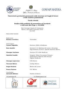 Osservatorio provinciale permanente sulla sicurezza nei luoghi di lavoro e delle malattie professionali - 9 novembre 2016 - Matera