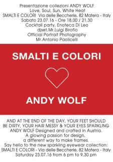 Presentazione Collezioni ANDY WOLF - Matera