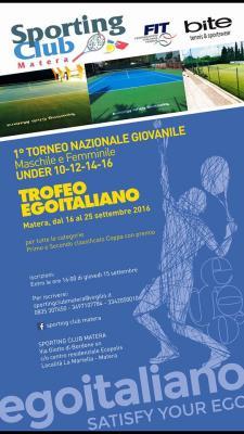 Primo Torneo Giovanile Maschile e Femminile Under 10/12/14/16 - Trofeo EGOITALIANO - Matera
