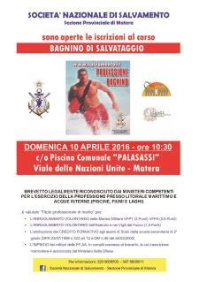 PROVA DI AMMISSIONE AL CORSO DI BAGNINO DI SALVATAGGIO - Matera