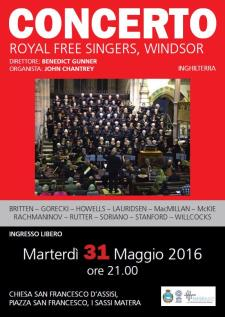 The Royal Free Singers - 31 Maggio 2016 - Matera