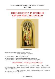 TRIDUO E FESTA IN ONORE DI SAN MICHELE ARCANGELO - Matera