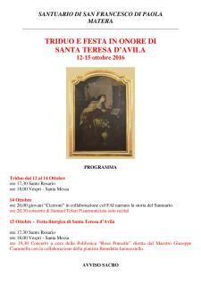 TRIDUO E FESTA IN ONORE DI SANTA TERESA D'AVILA - Matera