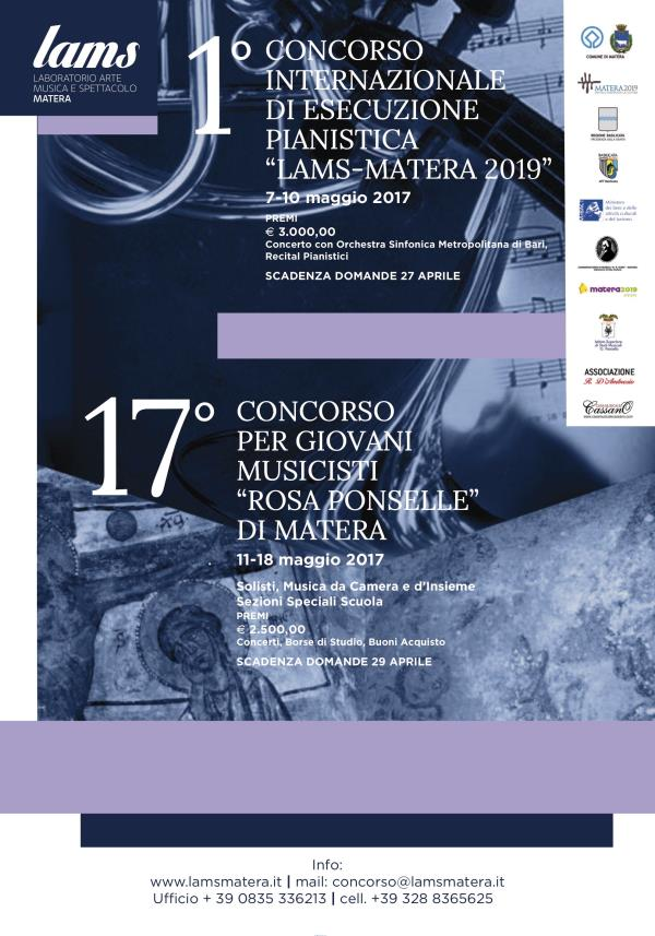 """1° Concorso Internazionale di Esecuzione Pianistica e 17° Concorso per Giovani Musicisti """"Rosa Ponselle"""" di Matera"""