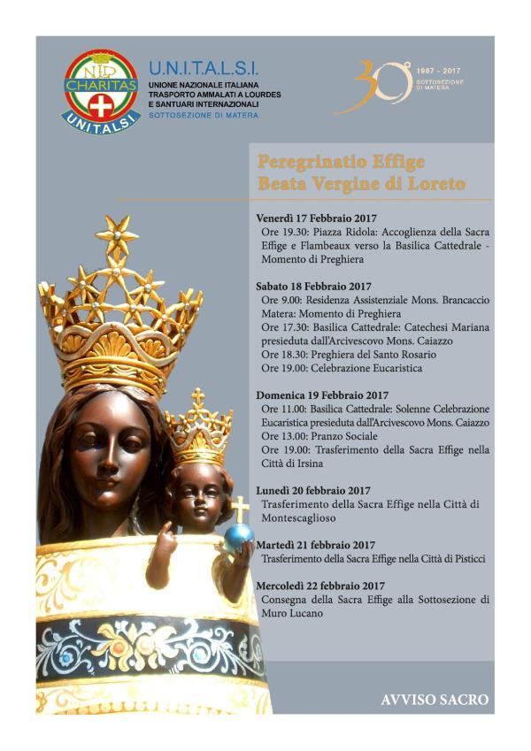 30° anniversario con Peregrinatio della sacra Effige della Madonna di Loreto