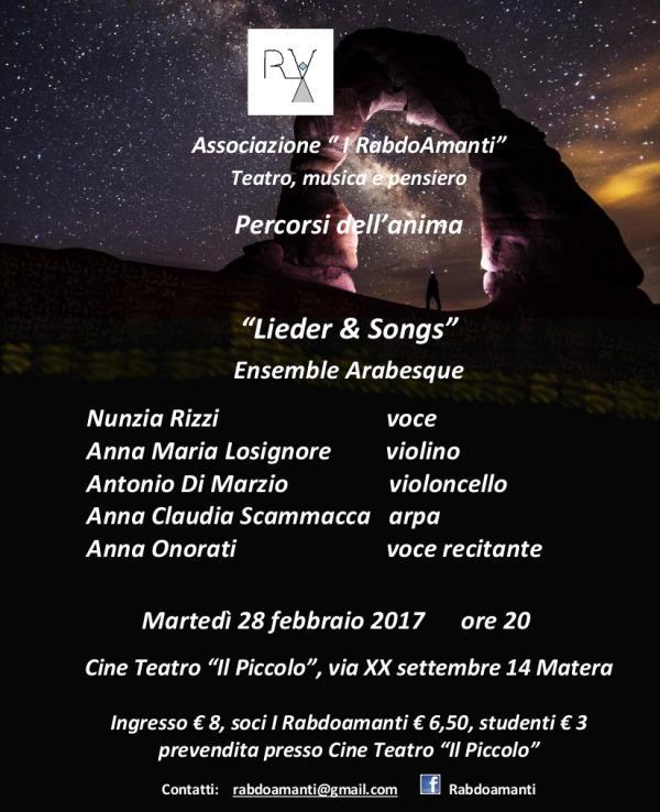 """Concerto di musica da camera """"Lieder & songs""""  - 28 febbraio 2017"""