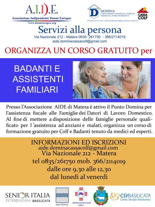 Corso di formazione gratuito per badanti e assistenti familiari
