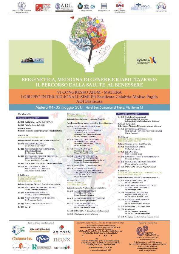 Epigenetica Medicina Di Genere E Riabilitazione Il Percorso Dalla Salute Al Benessere Congresso Seminario Convegno Matera
