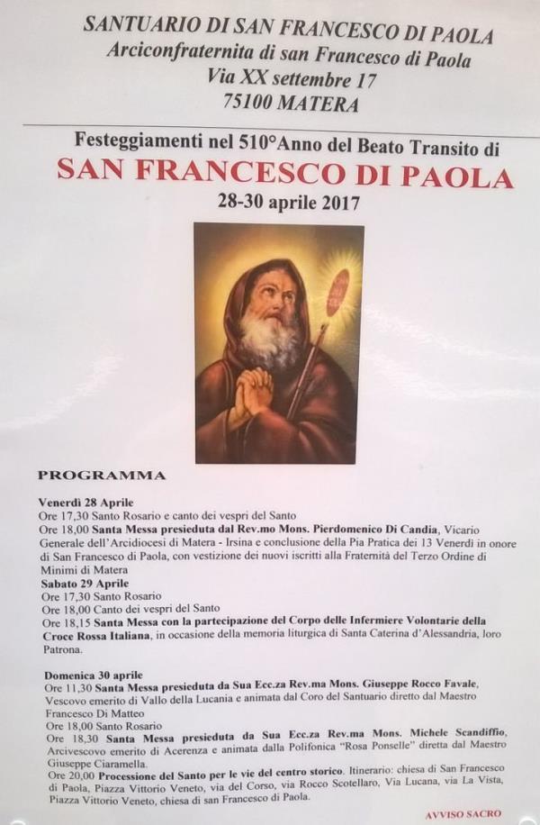 Festeggiamenti del 510° Beato transito di San Francesco di Paola