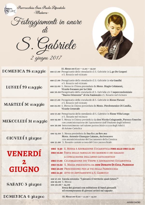 Festeggiamenti in onore di S. Gabriele 2017