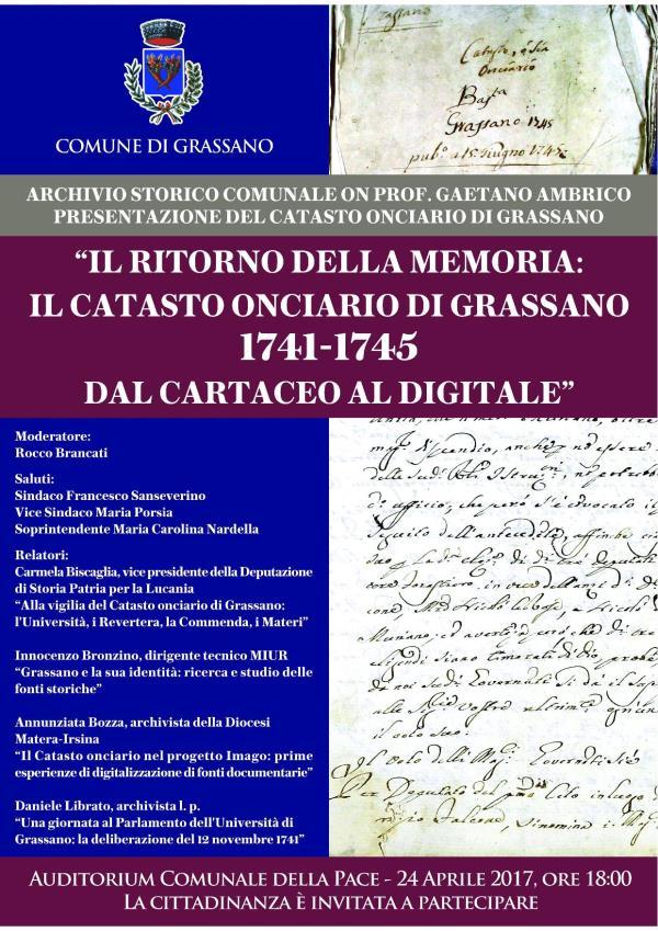 IL RITORNO DELLA MEMORIA: IL CATASTO ONCIARIO DI GRASSANO 1741-1745, DAL CARTACEO AL DIGITALE