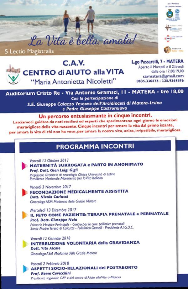 Incontri organizzati da CAV, Centro di Aiuto alla Vita