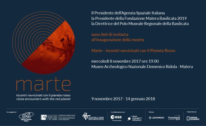 MARTE Incontri ravvicinati con il pianeta rosso - dal 8 novembre 2017 al 14 gennaio 2018