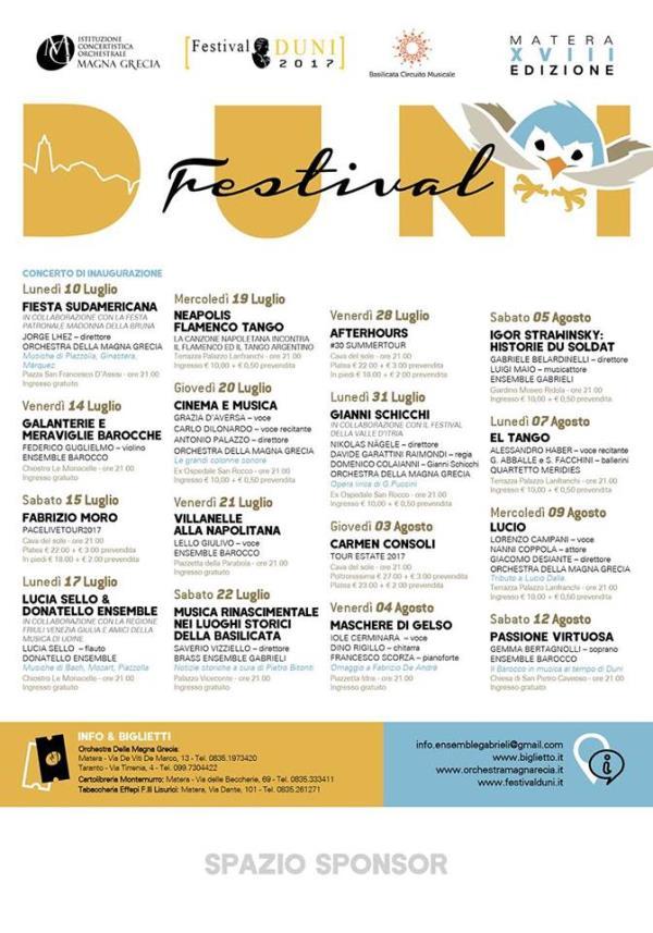 Programma del Festival Duni 2017