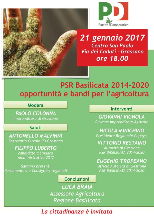 PSR Basilicata 2014-2020 opportunità e bandi per l´agricoltura - 21 gennaio 2017