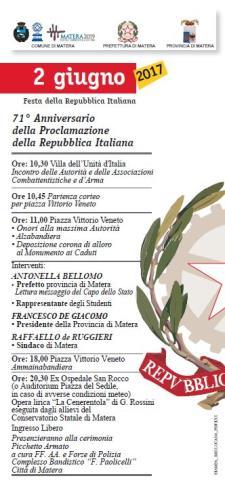 71° Anniversario della Proclamazione della Repubblica Italiana  - Matera