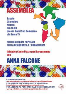 "Assemblea regionale lucana ""Per la Democrazia e l'Uguaglianza"" - 28 ottobre 2017 - Matera"