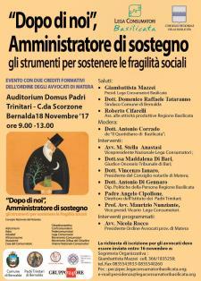 Dopo di noi, amministratore di sostegno: gli strumenti per sostenere le fragilità sociali - 18 novembre 2017 - Matera
