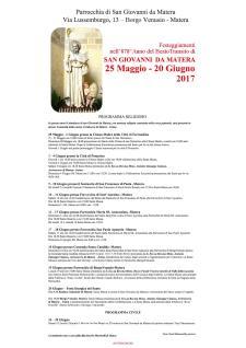 Festeggiamenti di S. Giovanni da Matera 2017 - Matera