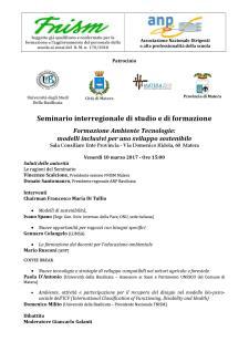 Formazione Ambiente Tecnologie:  modelli inclusivi per uno sviluppo sostenibile   - Matera