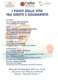 I PONTI DELLA VITA TRA DIRITTI E SOLIDARIETÀ - 22 dicembre 2017 - Matera
