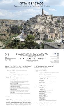 Il Patrimonio come Risorsa, Temi e Traiettorie di Ricerca - 4 Maggio 2017 - Matera