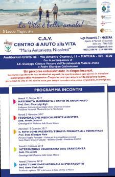 Incontri organizzati da CAV, Centro di Aiuto alla Vita - Matera