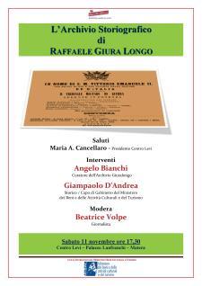 L'ARCHIVIO STORIOGRAFICO DI RAFFAELE GIURALONGO - 11 novembre 2017 - Matera