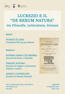 """Lucrezio e il """"De Rerum Natura"""" - 31 gennaio 2017 - Matera"""