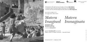 MATERA IMAGINED / MATERA IMMAGINATA - dal7 dicembre 2017 al 4 febbraio 2018 - Matera