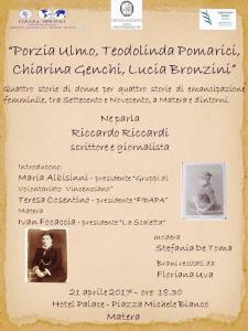 Porzia Ulmo, Teodolinda Pomarici, Chiarina Genchi, Lucia Bronzini - 21 Aprile 2017 - Matera