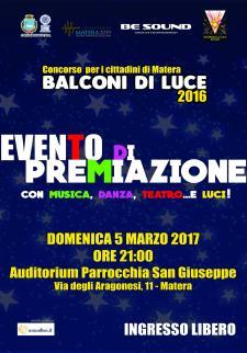Premiazione del concorso natalizio Balconi di Luce  - 5 Marzo 2017 - Matera