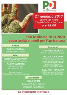PSR Basilicata 2014-2020 opportunità e bandi per l'agricoltura - 21 gennaio 2017 - Matera