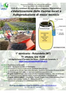 Valorizzazione delle risorse locali e Autoproduzione di mezzi tecnici - 11 ottobre 2017 - Matera