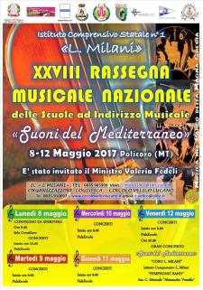 """XXVIII Rassegna Musicale Nazionale """"Suoni del Mediterraneo""""  - Matera"""