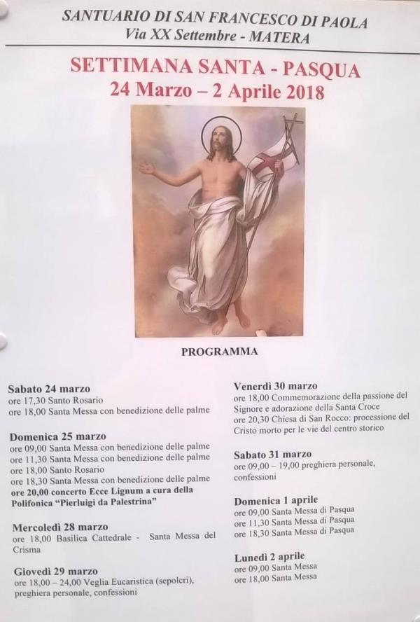 Settimana Santa nel Santuario San Francesco di Paola