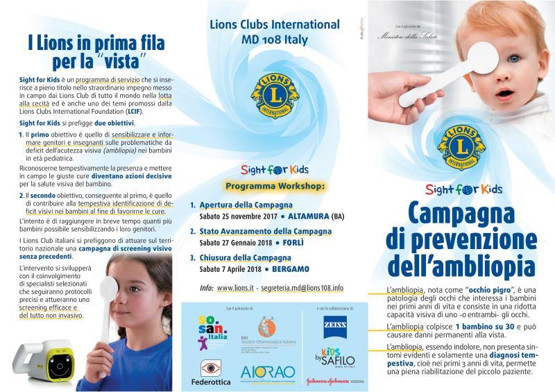 Sight for Kids Campagna di prevenzione dell´ambliopia a Matera