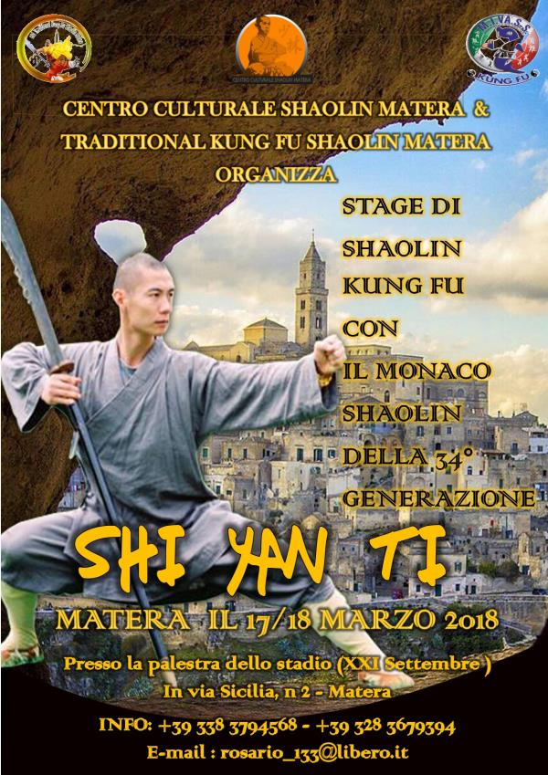 Stage di Shaolin Kung-fu con Shin Yan Ti