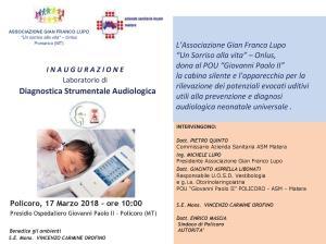 Inaugurazione Laboratorio di Diagnostica Strumentale Audiologica - 17 marzo 2018 - Matera