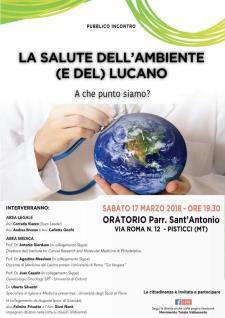 """""""La salute dell'ambiente (e del) lucano. A che punto siamo?""""  - 17 marzo 2018 - Matera"""