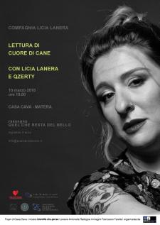 """Lettura di """"cuore di cane"""" con Licia Lanera e Tommaso Qzerty Danisi  - Matera"""